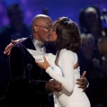 LOS ANGELES, CA - NOVEMBER 22:  Actor Samuel L. Jackson (L) presents singer Whitney Houston the Winner of International - Favorite Artist Award onstage at the 2009 American Music Awards at Nokia Theatre L.A. Live on November 22, 2009 in Los Angeles, California.  (Photo by Kevork Djansezian/Getty Images) *** Local Caption *** Samuel L. Jackson;Whitney Houston
