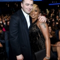 Singer and songwriter Sam Smith (L) and Mary J Blige