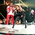 Diddy (L) and Lil Kim perform onstage