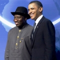 US President Barack Obama (R) greets Nigerian President Goodluck Jonathan upon his arrival for dinner during the Nuclear Security Summit at the Washington Convention Center in Washington, DC, April 12, 2010.                    AFP  PHOTO/Jim WATSON (Photo credit should read JIM WATSON/AFP/Getty Images)