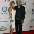 Professional soccer player Shawna Gordon (L) and actor Shemar Moore attend the 46th NAACP Image Awards