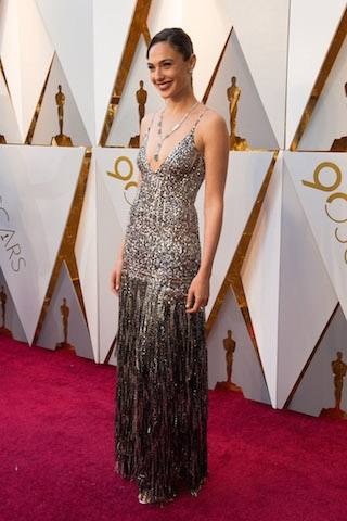 Gal Gadot arrives on the red carpet of The 90th Oscars® at the Dolby® Theatre in Hollywood, CA on Sunday, March 4, 2018.