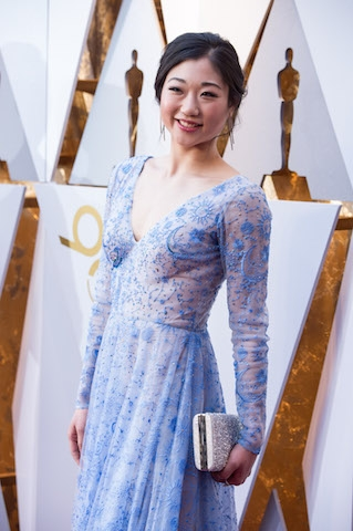 Mirai Nagasu arrives on the red carpet of The 90th Oscars® at the Dolby® Theatre in Hollywood, CA on Sunday, March 4, 2018.