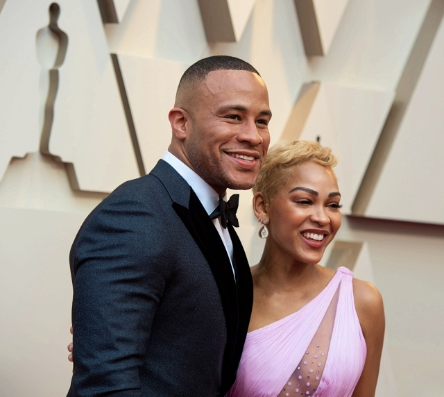 Meagan Good (R) and DeVon Franklin (L) arrive on the red carpet of The 91st Oscars® at the Dolby® Theatre in Hollywood, CA on Sunday, February 24, 2019.