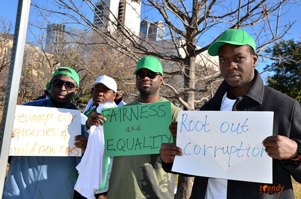 003 Nigerians in Dallas stage peaceful protest as strike enters Day 6