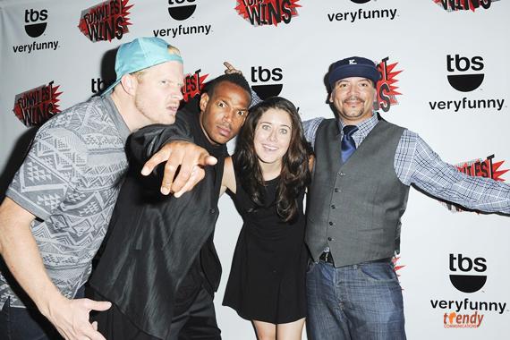 Marlon with Funniest Wins  contestants Matt McManus, Manon Matthews and Key Lewis rsz
