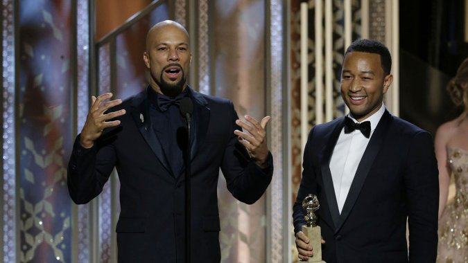Common and John Legend on stage at the Beverly Hilton - Paul DrinkwaterNBC