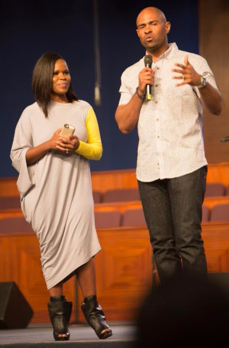 Pastor Wayne Chaney, Jr. and First Lady Myesha Chaney on stage at the Fifth Annual Long Beach Gospel Festival Photo credit: Blair Caldwell