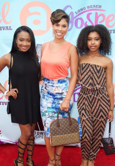 """Gwendolyn Osborne-Smtih with Kayla Smith (left) and Monique Green (right) of the TBS reality show """"Meet The Smiths"""" on the red carpet at the  Fifth Annual Long Beach Gospel Festival  Photo credit: Earl Gibson III"""