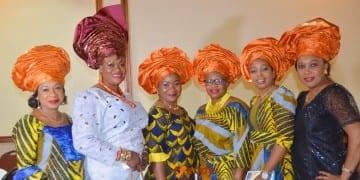 Mrs. Folake Amhanesi (in white) and friends.