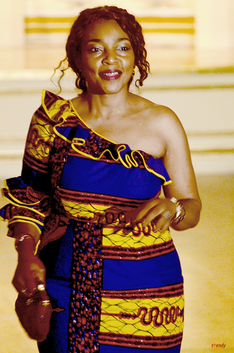 From the Democratic Republic of the Congo, Fashion Designer, Kapinga Bashala. During her presentation at the New York, Plaza Hotel on West 57th Street.