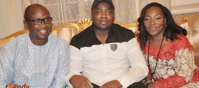 L-R; Otunba Olumide Osunsina, Oba Saheed Ademola Elegushi (Kusenla III), Mrs. Desiree Osunsina