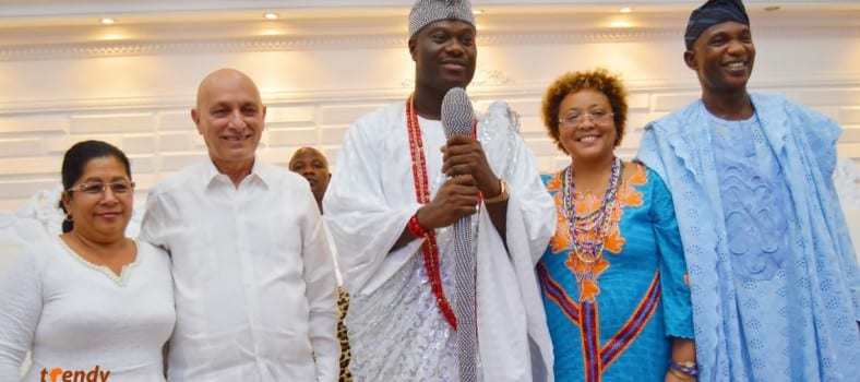 L-R; Ambassador Sosa and Wife, Ooni of Ife Enitan Ogunwusi, Mrs. Palmero, Alhaji Moshood Adeoti