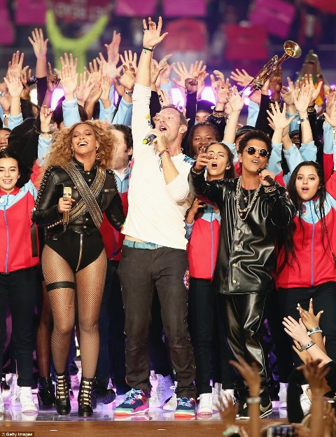 Beyonce, Coldplay and Bruno Mars