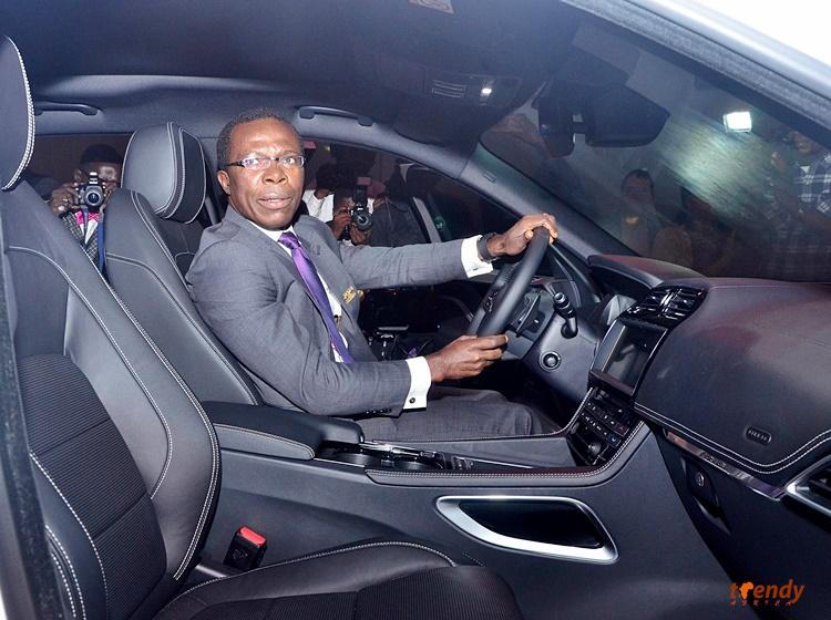 Dr. Cosmas Maduka, President, Coscharis Motors having a feel of the Jaguar F-Pace