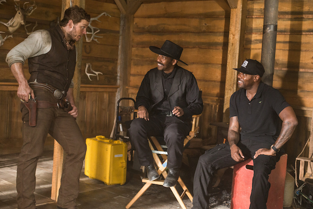 Chris Pratt, Denzel Washington and Director Antoine Fuqua on the set of Metro-Goldwyn-Mayer Pictures and Columbia Pictures' THE MAGNIFICENT SEVEN.