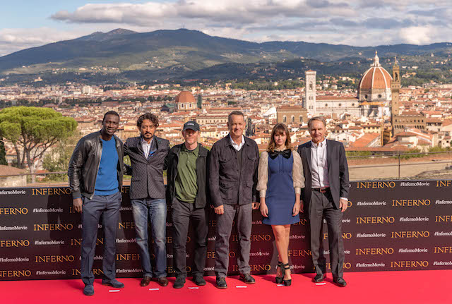 Florence, Italy –October 7, 2016 - Omar Sy, Irrfan Kahn, director, Ron Howard, Tom Hanks, Felicity Jones and author, Dan Brown at the Columbia Pictures, Inferno photo call at the Forte di Belvedere in Florence Italy.