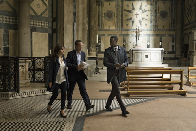 Bouchard convinces Langdon (Tom Hanks) and Sienna (Felicity Jones) to trust him in Columbia Pictures' INFERNO.