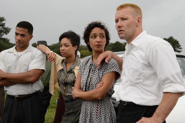 (l to r) Alano Miller as Raymond, Terri Abney as Garnet, Ruth Negga as Mildred, and Joel Edgerton as Richard