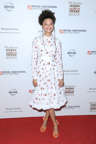 Actress Storm Reid (A Wrinkle in Time) on the red carpet at the 10th Annual AAFCA Awards