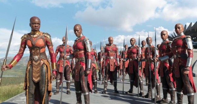 Okoye (left) in Black Panther