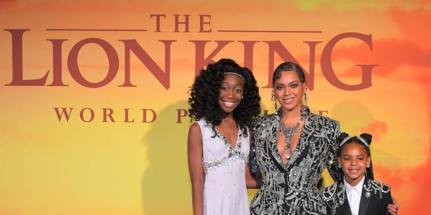 "(L-R) Shahadi Wright Joseph, Beyonce Knowles-Carter, and Blue Ivy Carter attend the World Premiere of Disney's ""THE LION KING"" at the Dolby Theatre on July 09, 2019 in Hollywood, California. (Photo by Charley Gallay/Getty Images for Disney)"