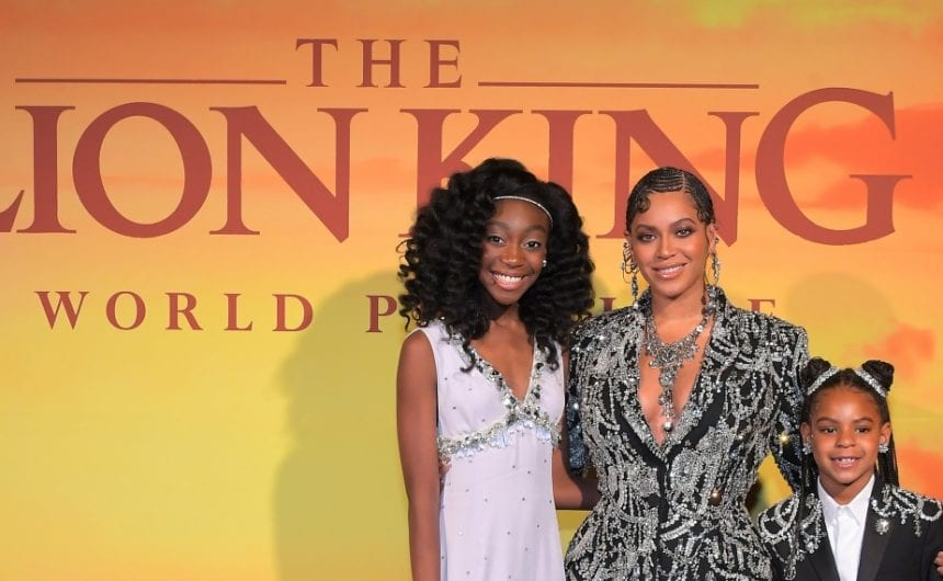 """(L-R) Shahadi Wright Joseph, Beyonce Knowles-Carter, and Blue Ivy Carter attend the World Premiere of Disney's """"THE LION KING"""" at the Dolby Theatre on July 09, 2019 in Hollywood, California. (Photo by Charley Gallay/Getty Images for Disney)"""
