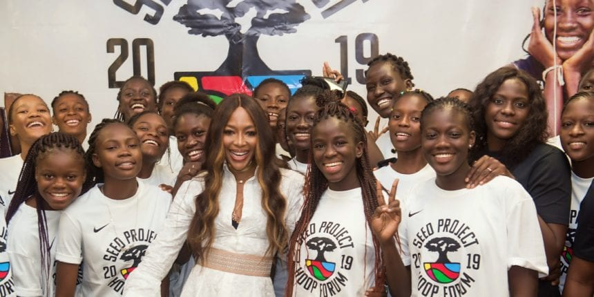 Naomi Campbell poses with female basketball players at the Hoop Forum organized by SEED