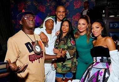 (L-R) Flavor Flav, Ja Rule, Irv Gotti, Aisha Atkins, Angie Martinez and Lil Mama