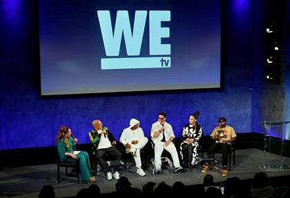 """(L-R) Host of """"Untold Stories of Hip Hop"""" Angie Martinez moderates panel with """"Growing Up Hip Hop- New York"""" cast members Irv Gotti, Ja Rule, Kid Capri, Charli Baltimore and Flavor Flav"""